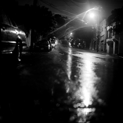 Black and White, Wet Road, Night