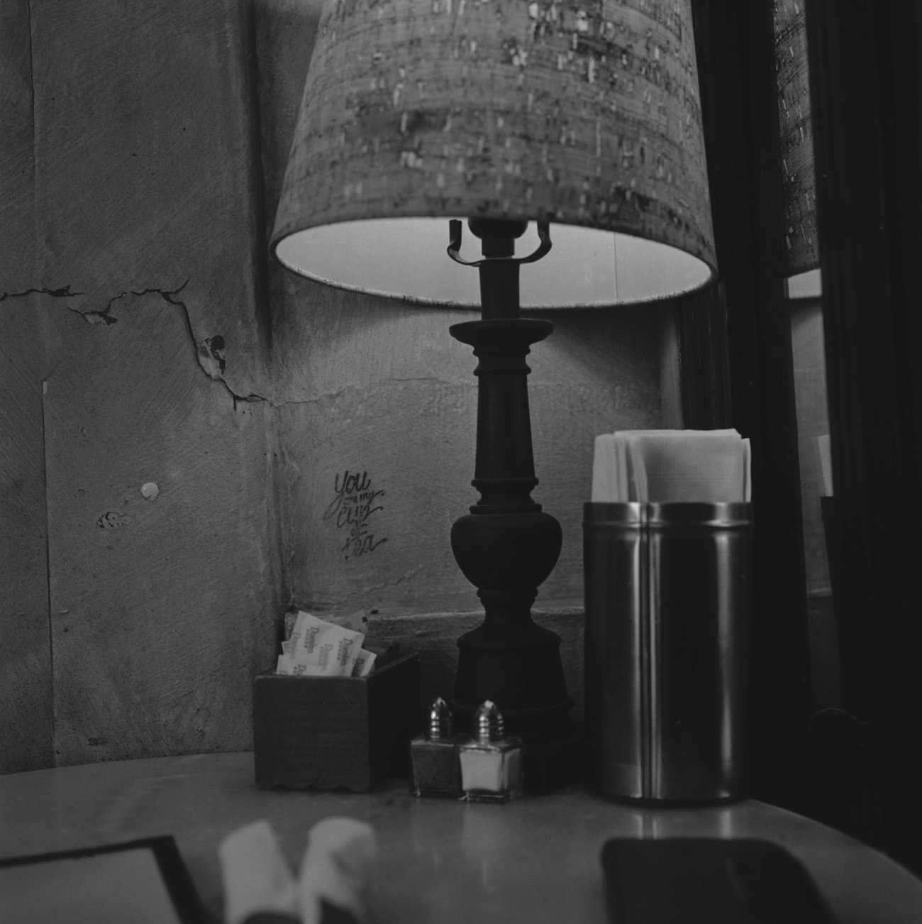 Black and White, Lamp, Table, Salt and Pepper